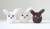 Cute crocheted stuffed bunnies.