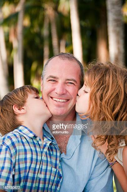 Cute father and children
