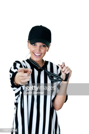 Cute Female Referee Selective Focus On Her Finger Stock Photo | Getty Images