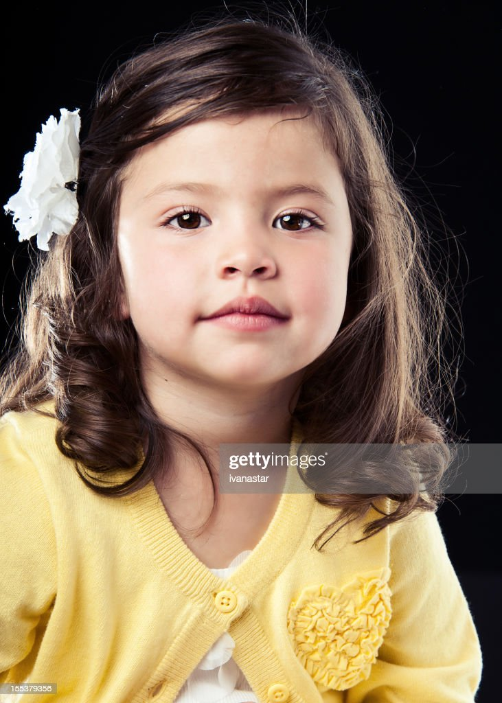Adorable Four Year Boy With Big Blue Eyes Stock Image: Cute Four Year Old Girl In Yellow Sweater Stock Photo