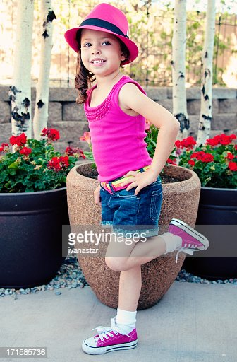 Adorable Four Year Boy With Big Blue Eyes Stock Image: Cute Four Year Old Girl With Pink Hat Stock Photo