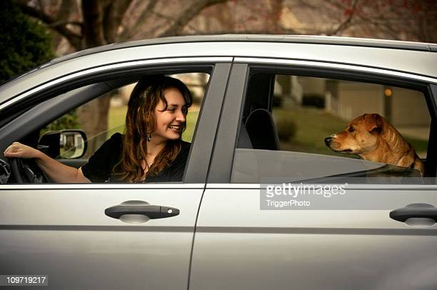 Cute Girl and Dog in Car