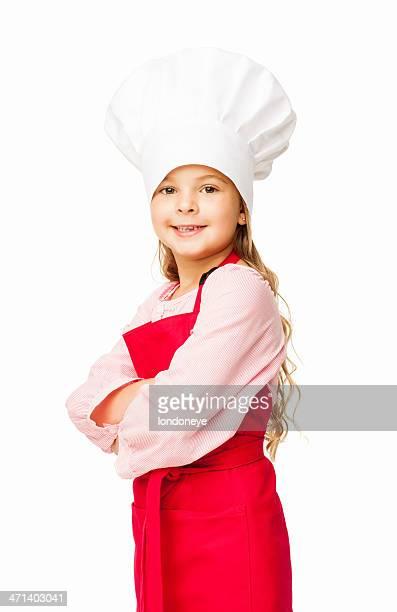 Ragazza carina Vestita come un cuoco-isolato