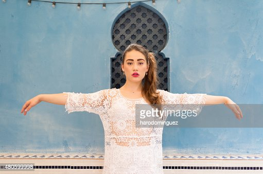 Cute girl with outstretched Arms : Stock Photo