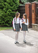 Two cute girls in uniform walking to school and chatting