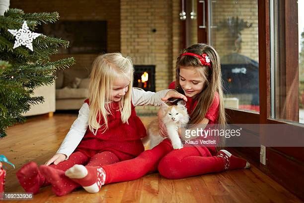 Cute girls playing with cat on christmas morning