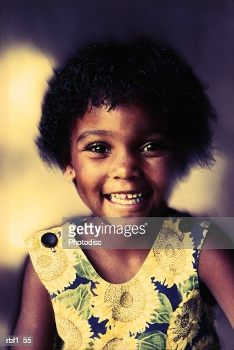 Cute Happy Young Africanamerican Girl With Short Black Hair And Big
