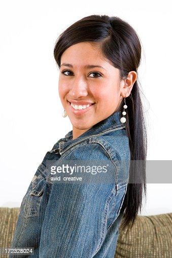 Cute Hispanic Girl Portraitisolated On White Stock Photo