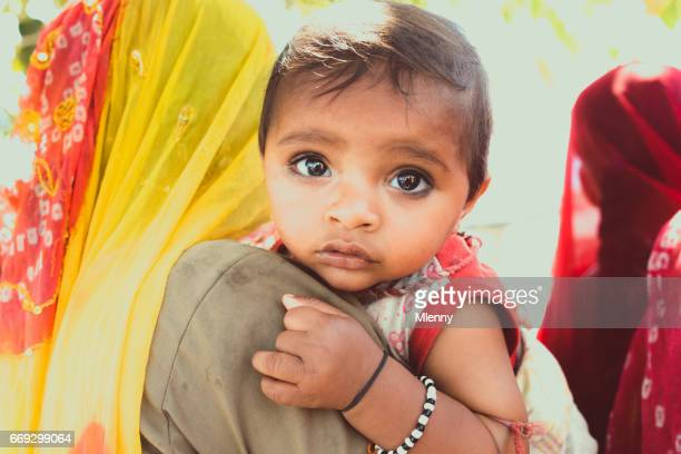 Cute Indian Baby Girl Mother's Arm Real People Portrait India