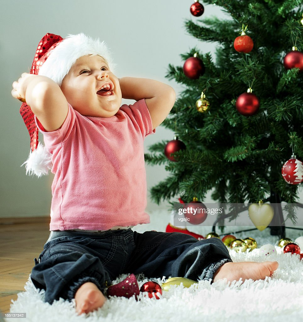 Cute Little Baby Christmas Time : Stock Photo