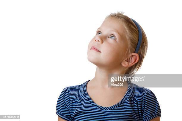 Niedlich kleines Blondes Mädchen nachschlagen auf Weiß