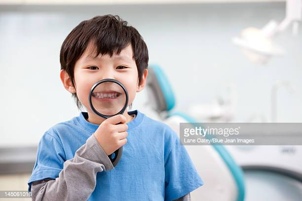 Cute little boy in dental clinic