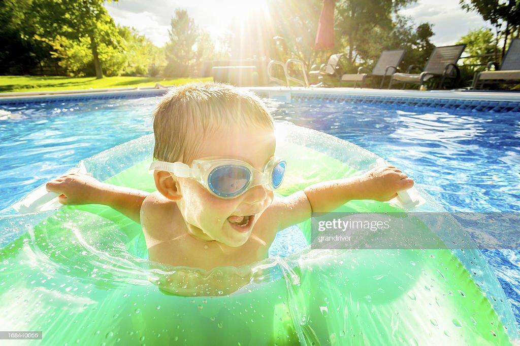 Cute Little Boy in Pool : Stock Photo