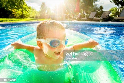 Cute Little Boy in Pool