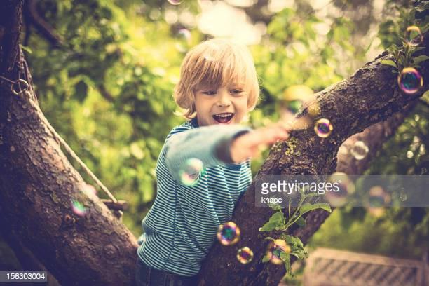 Cute little boy outdoors climbing a tree
