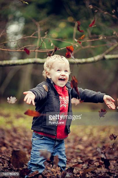 Cute Little Boy Plays in Fall Leaves