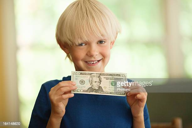 Cute Little Boy With A Twenty Dollar Bill