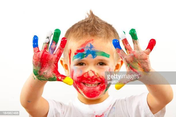 Cute Little Boy With Painted Hands XXXL