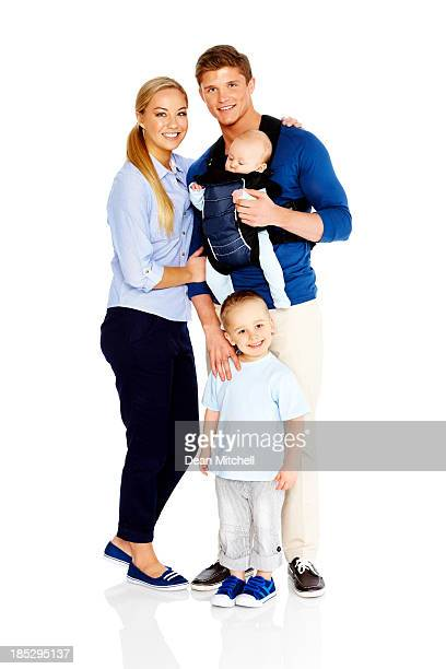 Cute little family portrait on white background
