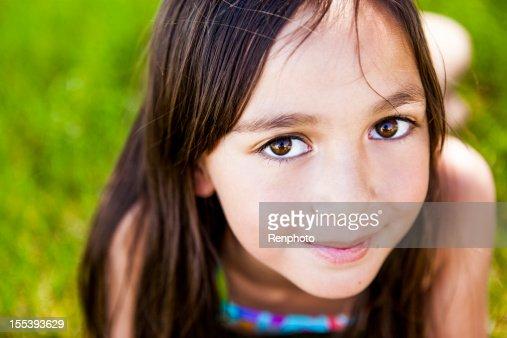 Cute Little Girl Outside in Spring