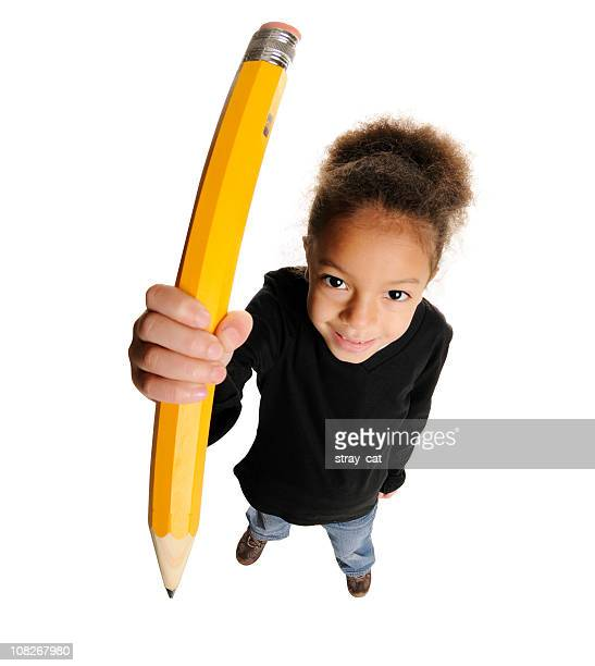 Cute Little Girl with Giant Pencil