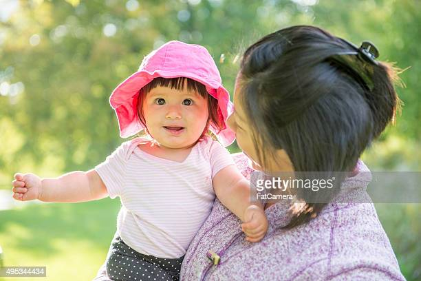 Cute Little Girl with Her Mom