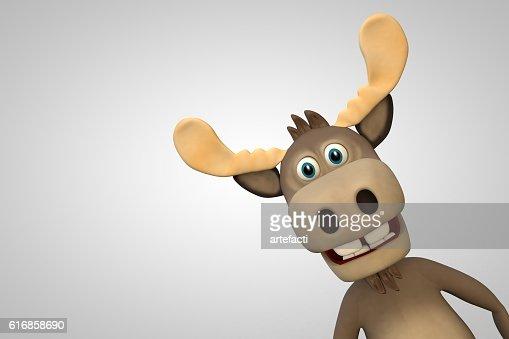 Cute moose cartoon animal zoo forest : Stock Photo