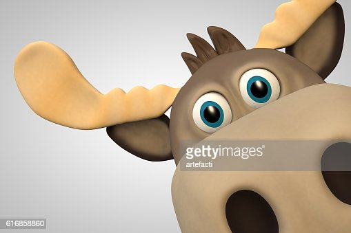 Cute moose cartoon animal zoo forest : Stock Photo