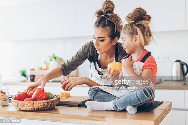 Cute mother and daughter in the kitchen