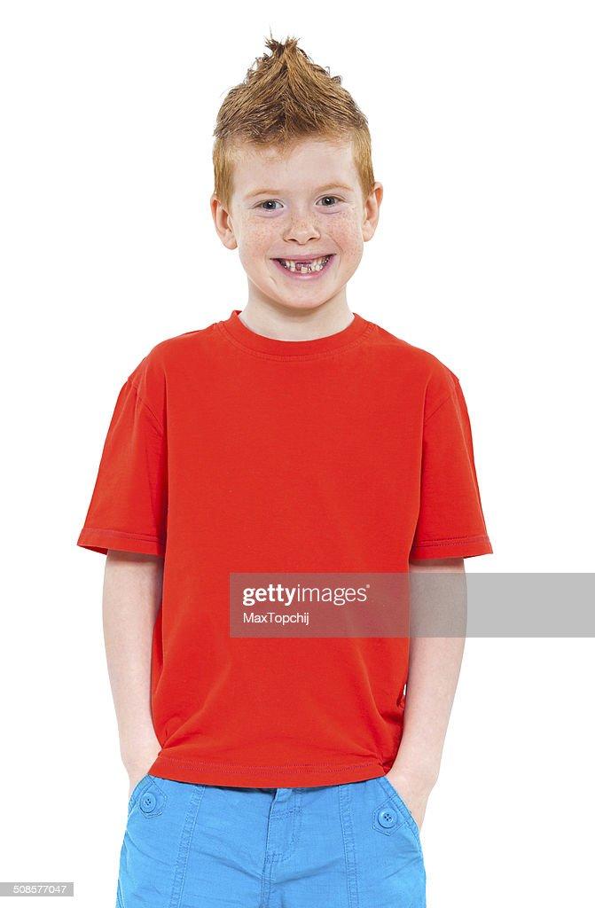Cute red-haired boy : Bildbanksbilder