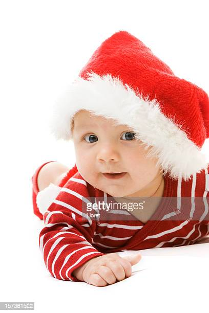 Cute Santa baby on white background