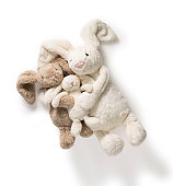 Cute Stuffed Bunny Rabbit Toys on white background