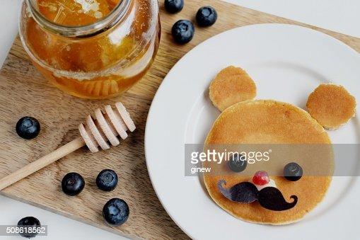 Cute Teddy bear pancake kid breakfast : Stock Photo