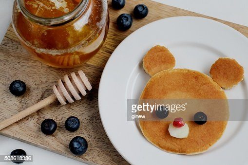 Cute Teddy bear pancake : Stock Photo