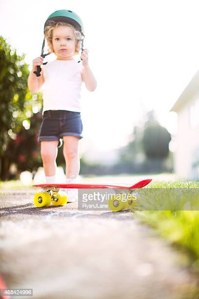 Cute Toddler Riding Skateboard