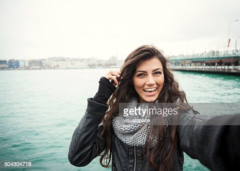 Cute Turkish Girl With Bright Smile Selfie