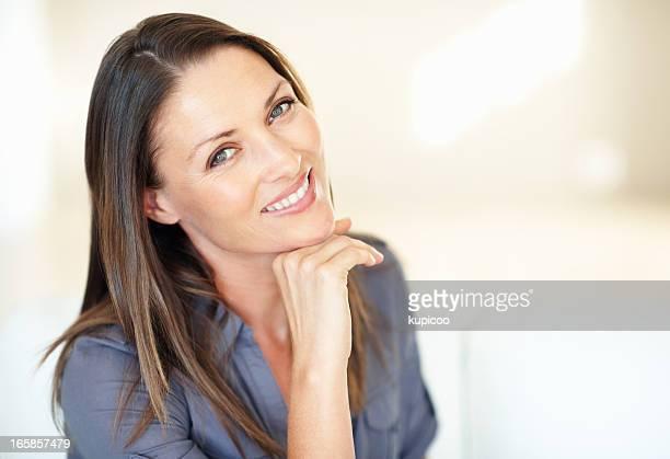 Cute woman smiling