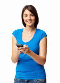 Cute Woman Text Messaging - Isolated