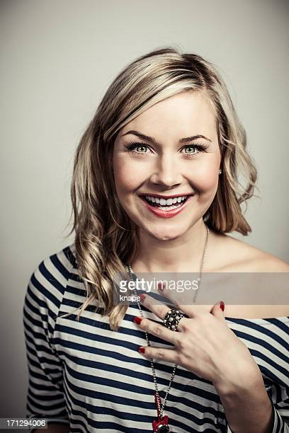 Cute woman with big bright smile