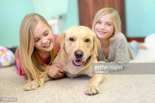 Cute young sisters playing with their pet dog at home
