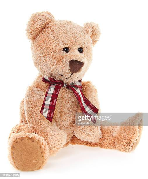 CuteTeddy Bear Toy Sitting, Isolated on White