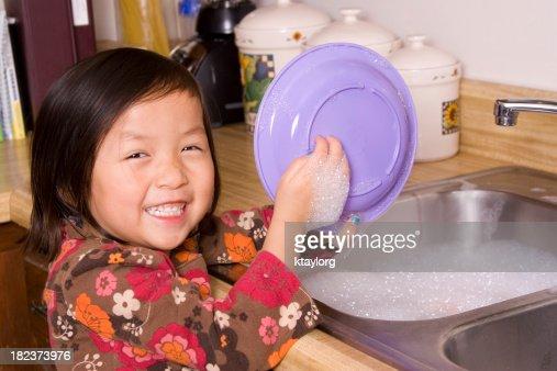 Cutie washing dishes