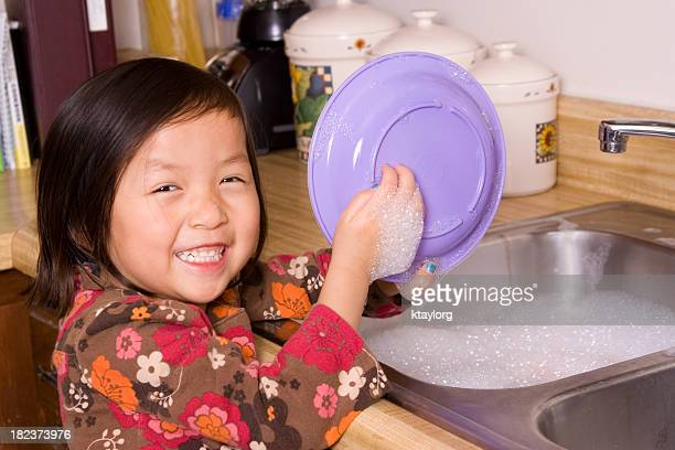 Cutie washing dishes