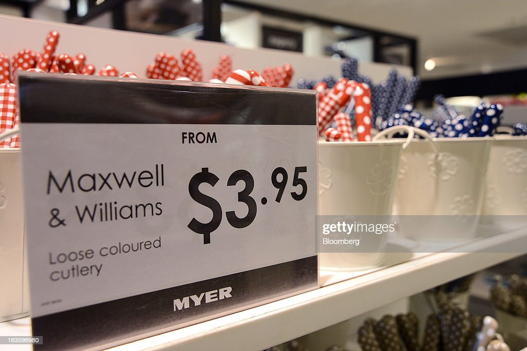 Cutlery from the Maxwell & Williams label are displayed for sale at Myer Holdings Ltd.'s Melbourne City store in Melbourne, Australia, on Wednesday, March 13, 2013. Myer is scheduled to release company results on March 14. Photographer: Carla Gottgens/Bloomberg via Getty Images