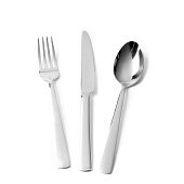Cutlery, silverware, fork, knife and spoon on white background
