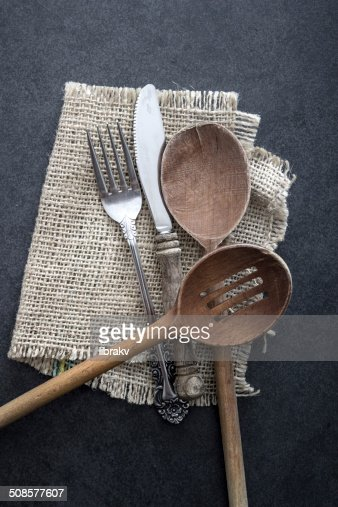 Cutlery strewn across a table. : Stock Photo