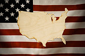 Cut-Out Map of America made of wood