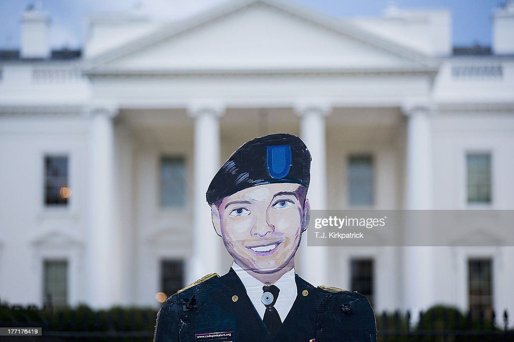 A cutout of Bradley Manning is held up on August 21, 2013 in front of the White House in Washington, DC. Manning was sentenced to 35 years in prison for leaking hundreds of thousands of classified documents to the anti-secrecy group WikiLeaks.