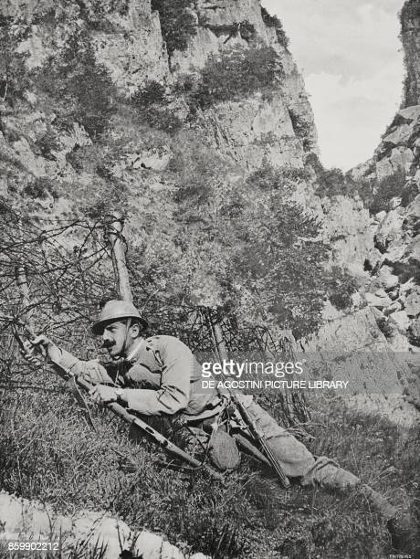 Cutting barbed wire fencings during the Italian counteroffensive between Adige and Brenta Italy World War I from L'Illustrazione Italiana Year XLIII...