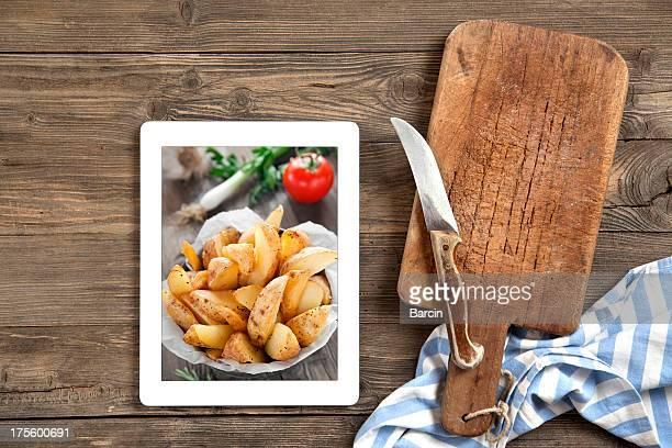Tabla de cortar con tableta digital